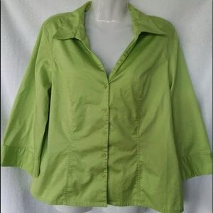 Apostrophe Women's Stretch Shirt Button Down Green